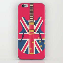 Union Jack Flag Guitar - Crimson iPhone Skin
