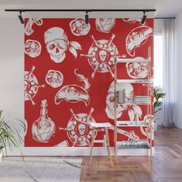 Red Pirate Pattern Wall Mural