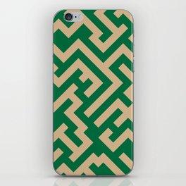 Tan Brown and Cadmium Green Diagonal Labyrinth iPhone Skin
