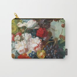 Fruit and Flowers in a Terracotta Vase by Jan van Os Carry-All Pouch