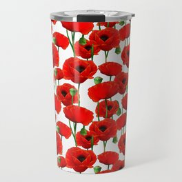 Red Poppy Pattern Travel Mug