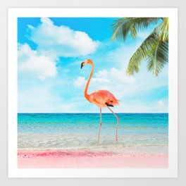 Flamingo Beach Art Print
