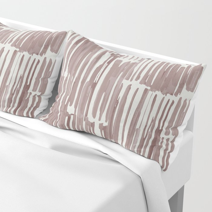 Simply Bamboo Brushstroke Red Earth on Lunar Gray Pillow Sham