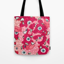 Pink Flowers, Strawberries and Eyes Tote Bag