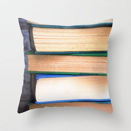 Stack of Books - Blues & Greens Throw Pillow