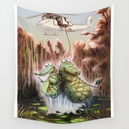 Crocodile selfies Wall Tapestry