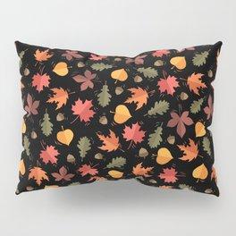 Autumn Leaves Pattern Black Background Pillow Sham