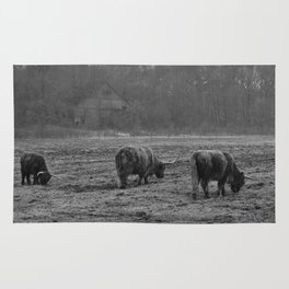 Highland Cows Photo in Black and White Rug