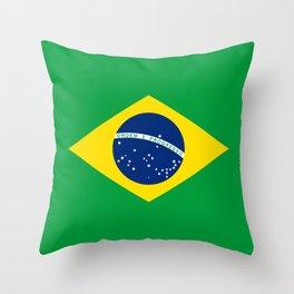 Brazil Flag Graphic Design Throw Pillow