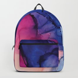 Pondering- Blue and Blush- Alcohol Ink Painting Backpack
