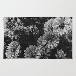 FLOWERS - FLORAL - BLACK AND WHITE Rug