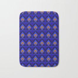 Blue and Orange Pattern Bath Mat