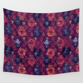 Lotus flower - fire on mulberry woodblock print style pattern Wall Tapestry