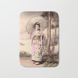 Japanese girl with parasol Bath Mat