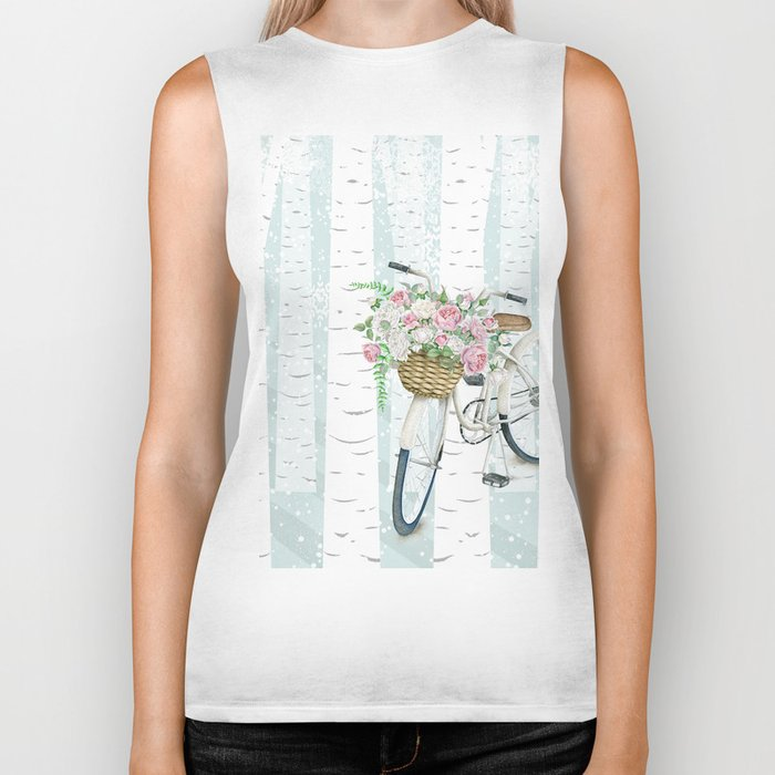 White Vintage bicycle in a Birch Forest Biker Tank