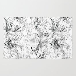 lily sketch black and white pattern Rug