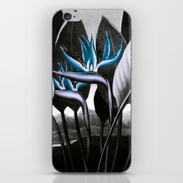 Birds of Paradise Temple of Flora Blue Gray iPhone Skin
