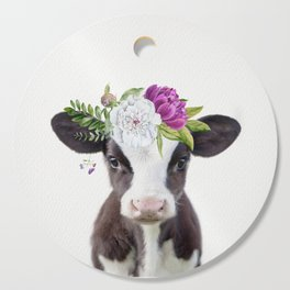 Baby Cow with Flower Crown Cutting Board