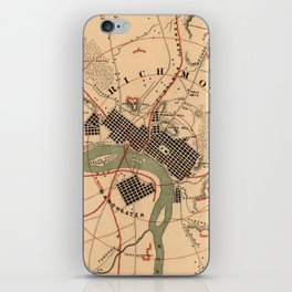 Vintage Richmond VA Rebel Defense Map (1864) iPhone Skin