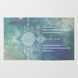 Mandala Flower of Life in Turquoise Stars Rug