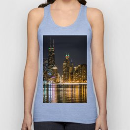 Chicago North Shore Skyline Night Unisex Tank Top