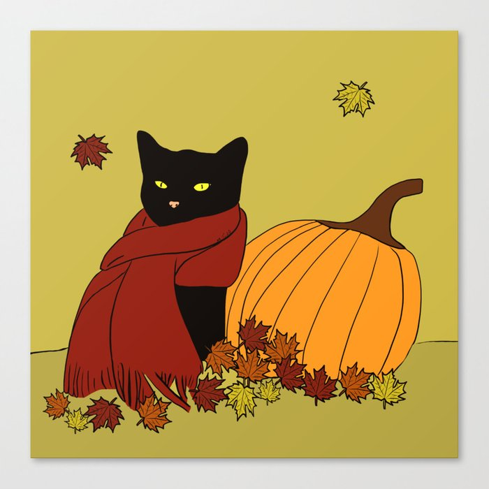Cascade The Black Cat In Red Scarf With Pumpkin - Fall Canvas Print
