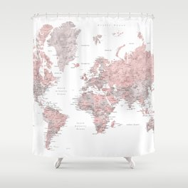World map shower curtains society6 dusty pink and grey detailed watercolor world map shower curtain gumiabroncs Images