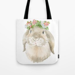 Lop Rabbit Floral Wreath Watercolor Painting Tote Bag