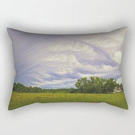 Storm rolling over small farm Rectangular Pillow