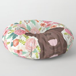 Chocolate Lab floral dog head cute labrador retriever must have pure breed dog gifts Floor Pillow