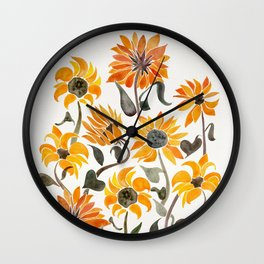 Sunflower Watercolor – Yellow & Black Palette Wall Clock