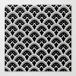 Fan Pattern Black & White 201 Canvas Print