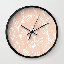 Watercolor Blush Leaves Wall Clock