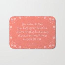 Jane Austen Persuasion Floral Love Letter Quote Bath Mat