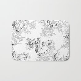 PEACOCK LILY TREE AND LEAF TOILE GRAY AND WHITE PATTERN Bath Mat