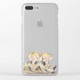 Happy Little Elephants Clear iPhone Case