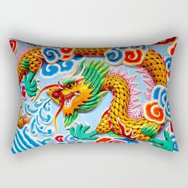 Chinese Temple Wall Art Rectangular Pillow