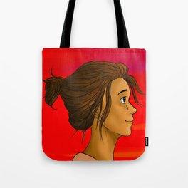 girl at sunset Tote Bag