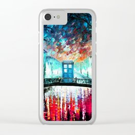 Tardis With Beautiful Starry Night Clear iPhone Case