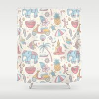 thailand Shower Curtains featuring Dream of Thailand by Olcha Guu
