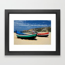 Colorful fishingboats Framed Art Print