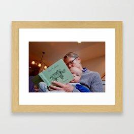 reading with grandad Framed Art Print