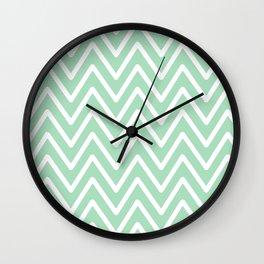 Chevron Wave Mint Wall Clock