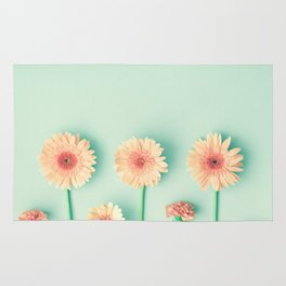 composition of gerbers/daisies over mint Rug