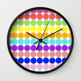 Stylized round multi-colored flowers (white background) Wall Clock