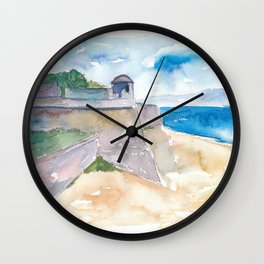 Ajaccio Corsica France - Beach and Fortress Wall Clock