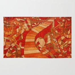 Path in brown and orange 3d landscape Rug