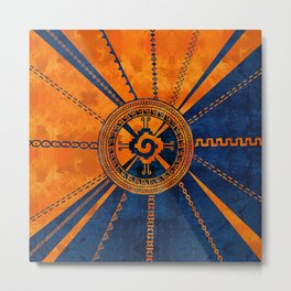 Hunab Ku Mayan symbol Orange and Blue Metal Print