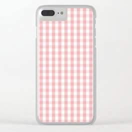 Large Lush Blush Pink and White Gingham Check Clear iPhone Case