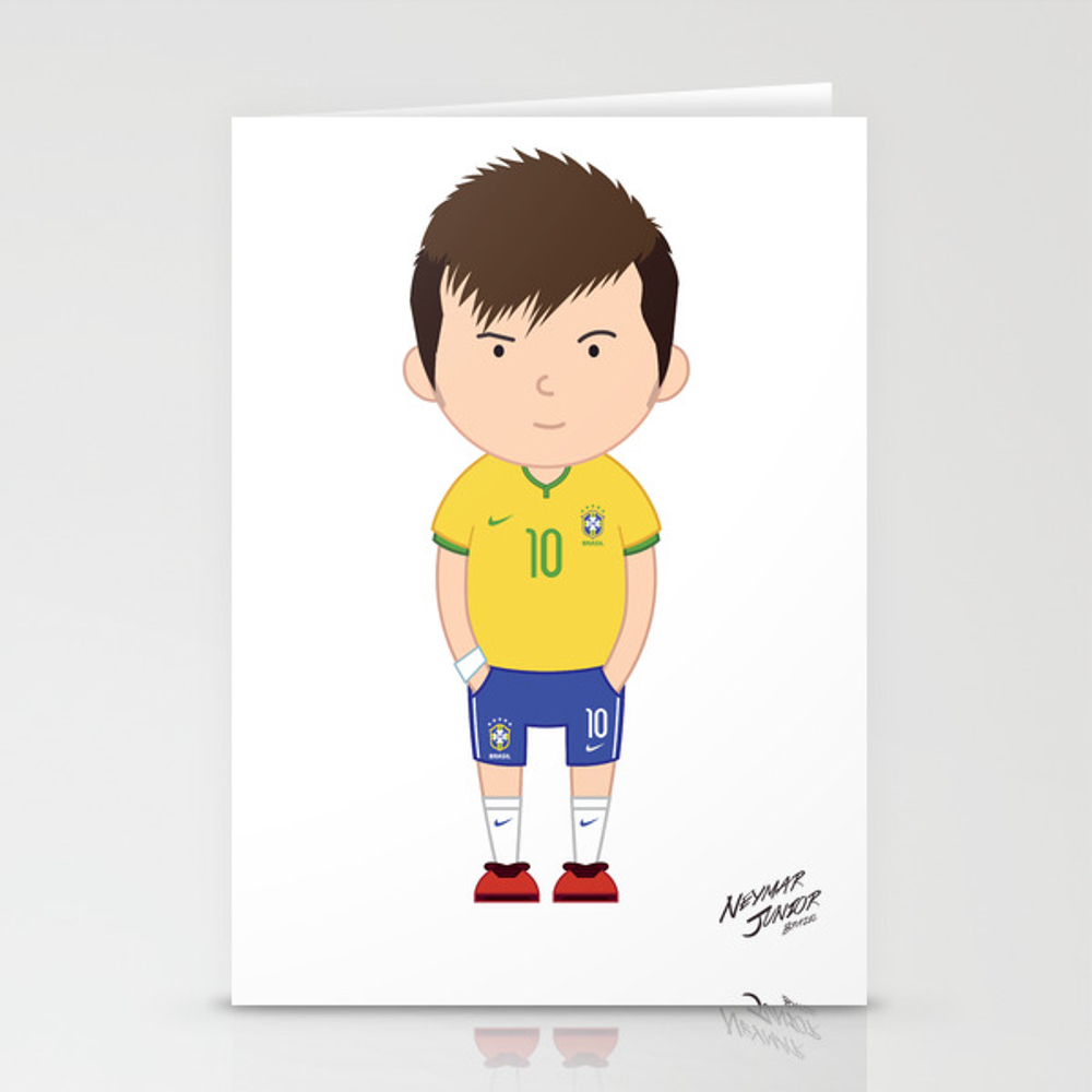 Neymar Junior - Brazil - World Cup 2014 Stationery Cards by Toonsoccer CRD9018767
